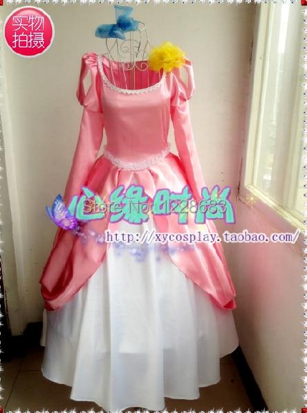 Free Shipping Custom Made Women Cartoon Halloween Cosplay Pink Fantasia Ariel Dress The Little Mermaid Princess Ariel Costume