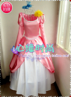 Frete grátis custom made mulheres dos desenhos animados do dia das bruxas cosplay rosa fantasia ariel dress a pequena sereia ariel princesa traje