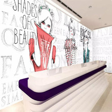 Clothing store fashion girl background wall professional custom mural wholesale wallpaper poster photo wall free shipping makeup girl wallpaper theme salon clothing store cosmetics shop manicure background wallpaper mural