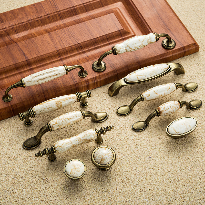 Antique Furniture Handles Marble Vein Knobs and Handles Ceramic Handles for Kitchen Cupboards Cabinet Door knobs Drawer Pulls beige ceramic door handles antique furniture knobs and handles for kitchen cabinet cupboards drawer pulls concise drawer handles
