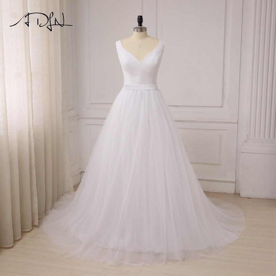 ADLN Sexy V neck Wedding Dresses Custom Elegant Sleeveless Pleats Tulle A line Bride Wedding Dress