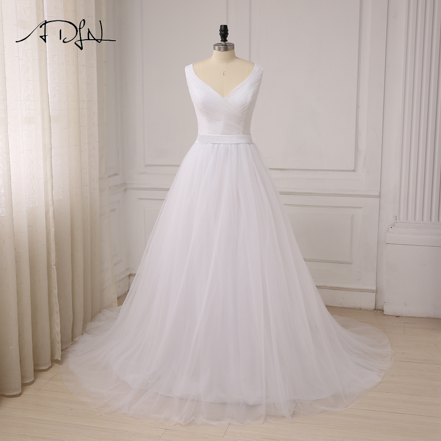 ADLN Sexy V neck Wedding Dresses Custom Elegant Sleeveless Pleats Tulle A line Bride Wedding Dress Robe De Mariage Sweep Train-in Wedding Dresses from Weddings & Events    1