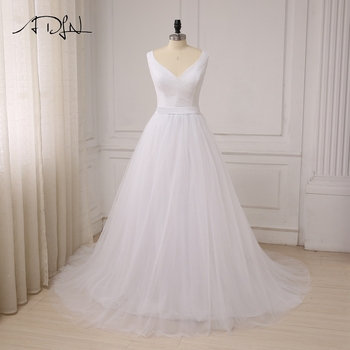 ADLN Sexy V-neck Wedding Dresses Elegant Sleeveless Pleats Tulle Sweep Train A-line Bride Wedding Dress Robe De Mariage