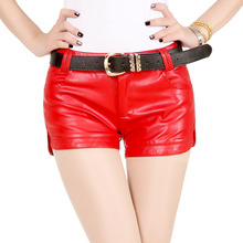 Jerry 2015 spring new women PU leather and artificial leather shorts skinny Slim hot shorts casual boot cut low waist shorts