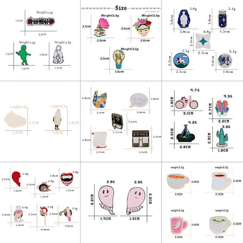 2-6 Buah/Set Kartun Hewan Bros Wanita Bibir Pria Piala Pesan Wanita Phonograph Enamel Denim Jaket Kerah Pin lencana Anak-anak Perhiasan