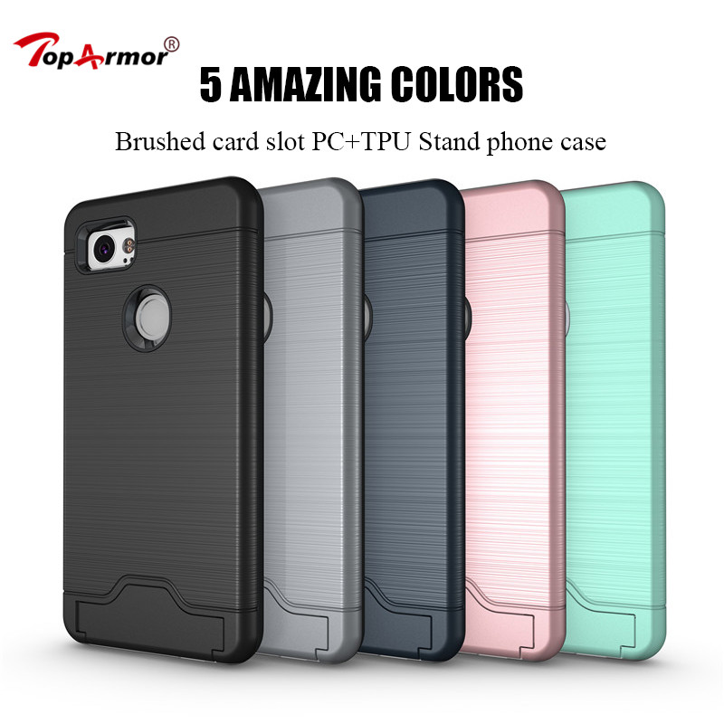 Brushed Armor Case Hybrid PC+TPU Shockproof Case For Google Pixel 2 Case For Google Pixel 2 XL Stand Cover For Google Pixel XL