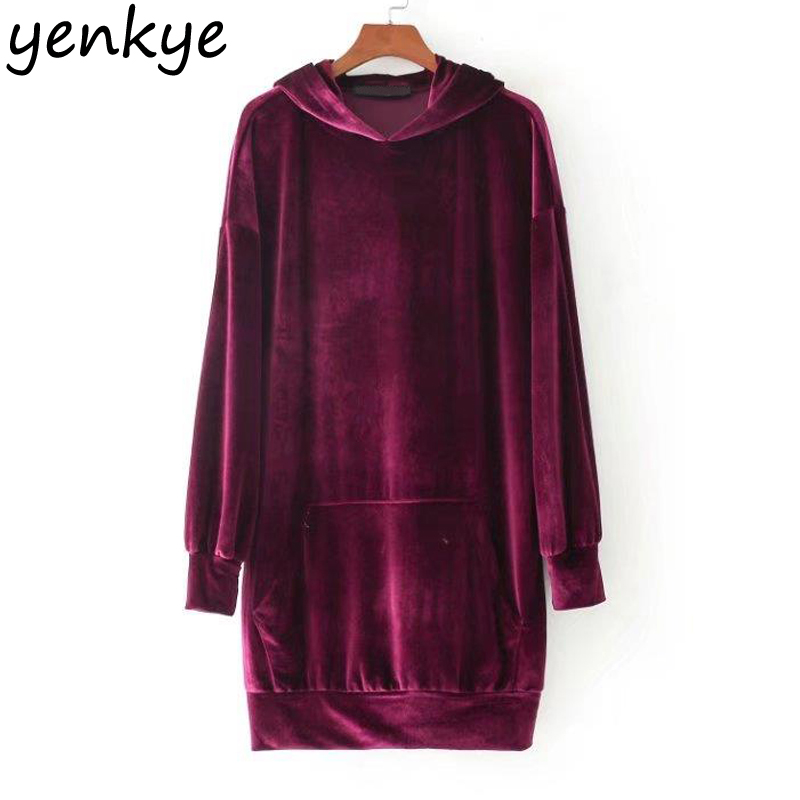 Women Hooded Velvet Dress Solid Color Long Sleeve Casual Autumn ...