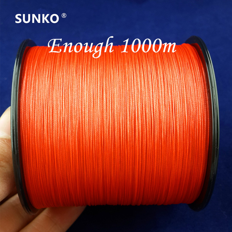 8 нитей 1000 м SUNKO бренд супер прочная многонитевая PE плетеная леска 15 ~ 140LB