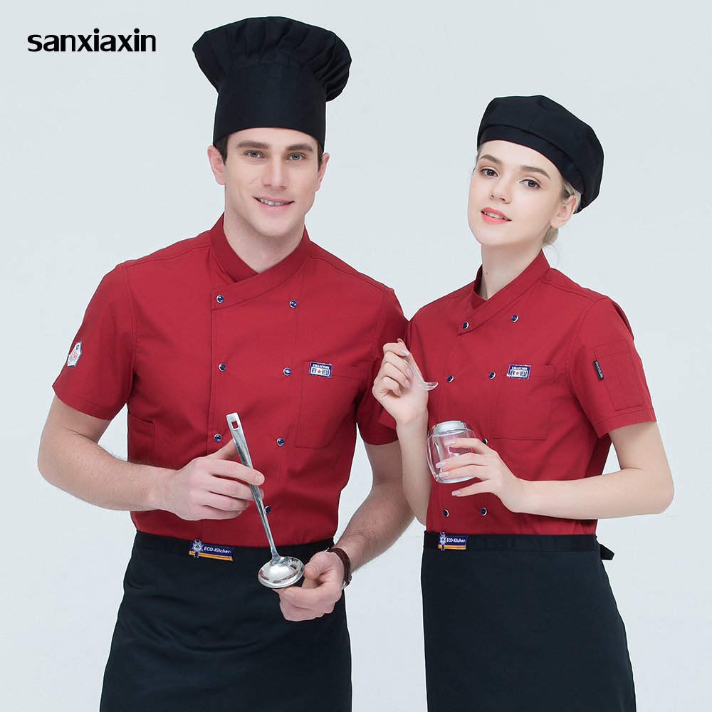 Sanxiaxin Work Clothes High Quality Restaurant Hotel Uniform Breathable Double-breasted Catering Hotel Kitchen Chef Jacket