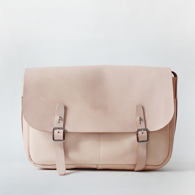 Nude Color Simple Style genuine leather Satchel bag for girls ...