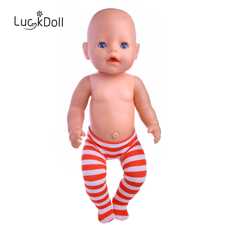 LUCKDOLL Striped Leggings Fit 18 Inch American 43cm Baby Doll Clothes Accessories,Girls Toys,Generation,Birthday Gift