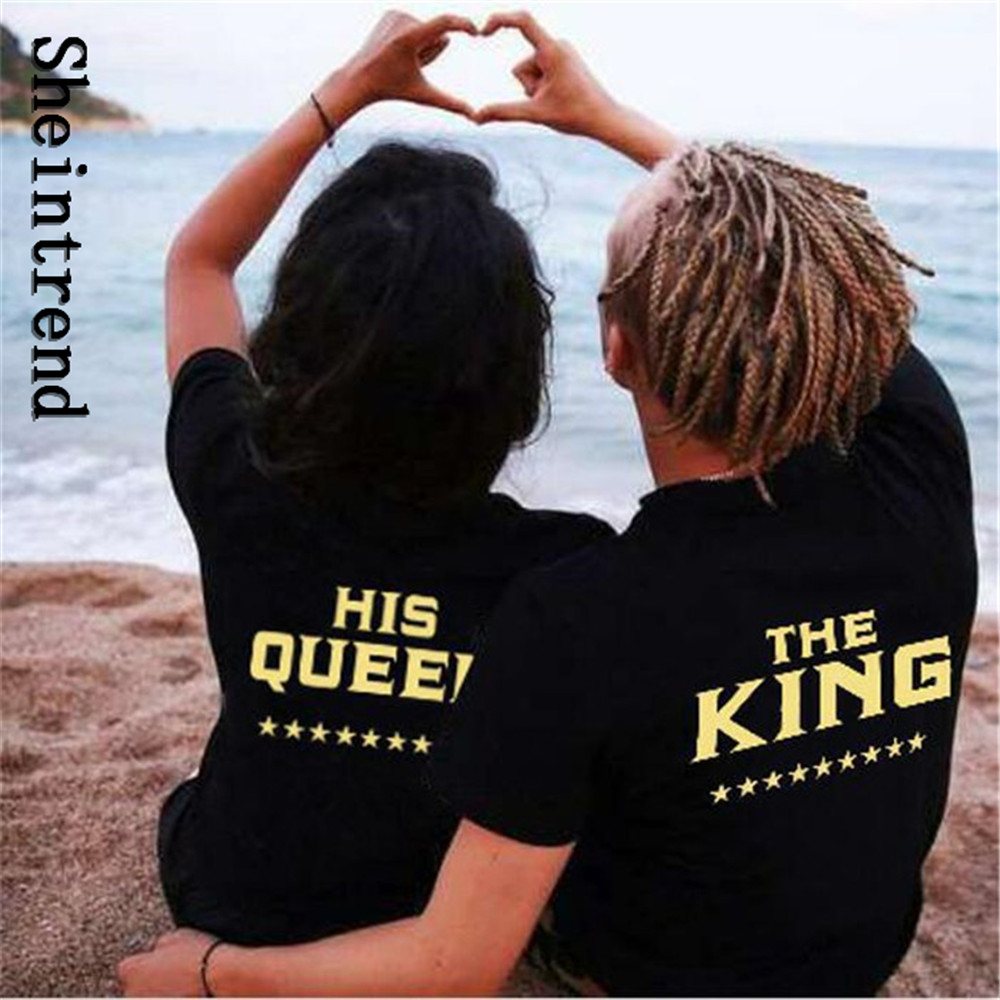 1e3b9004be Sheintrend 2017 Men Short Sleeve Couple Shirts King And Queen Printed T  Shirt Fashion Plus Size T shirt Black Lovers Tops Tees-in T-Shirts from  Men's ...