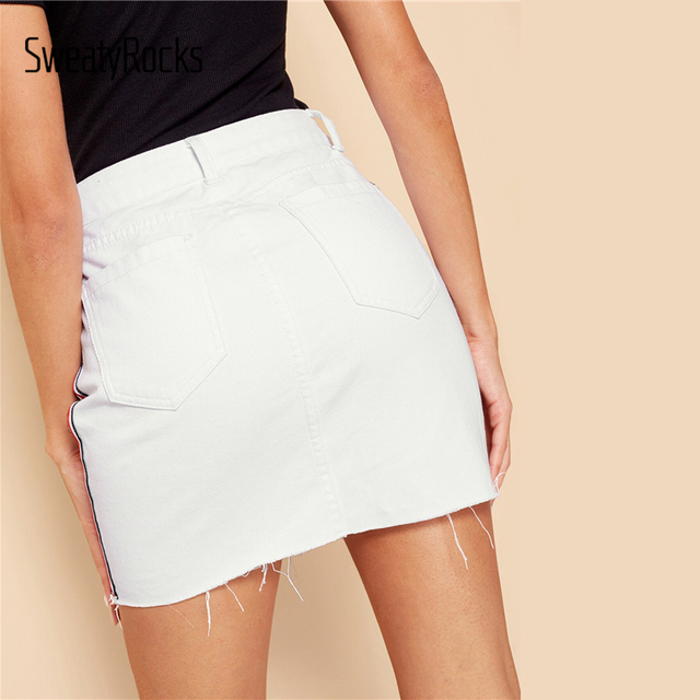 White Stripe Tape Side Frayed Edge Skirt 2019