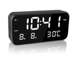 EAAGD Large screen LED digital music alarm clock, AC plug / USB power supply, simple operation settings, multifunctional
