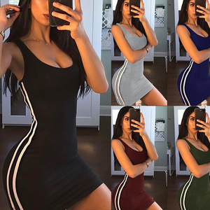 Stripe For Women Solid Open Back Sling Sexy Summer Dress Women Party Slim Dresses Splicing Dress 2019 New Fashion Women Clothes(China)