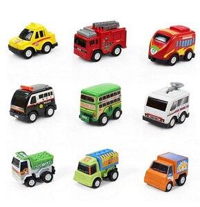 Image 4 - 6/12個プルバックカーのおもちゃレーシングカーベビーミニ消防車漫画のプルバックバストラックの子供たちおもちゃ子供のボーイギフト用wyq