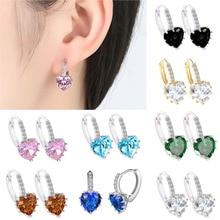 Women Fashion Earrings Heart-shaped Zircon Multi-color Drop Earrings Rhinestone Oorbellen Vintage Safira Earring Bijoux WD329