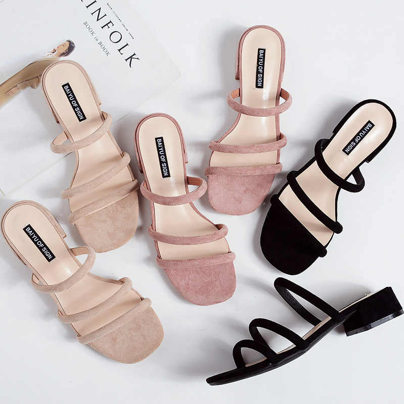 three narrow band slippers women suede low heel flip flops new summer espadrilles sandals sweet pink sandalias mujer 2018 y489
