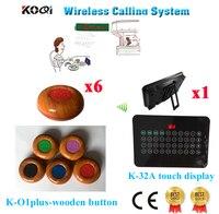 Draadloze Kelner Bellen Bel Elektrische Apparatuur Levert CE Doorgegeven (1 display + 6 call knop)