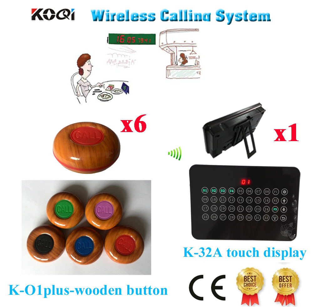 Wireless waiter call bell system electrical equipment supplies ce passed 1 display 6 call button