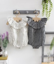 Owligbaby Wholesale Ruffles Striped Baby Girls Rompers Cotton Baby Kids Jumpsuit 0-3 years