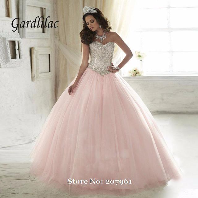 Gardlilac Rosa Vestidos Quinceanera 2017 Rosa vestido de Baile contas de Cristal Vestidos De 16 Anos Em Camadas Vestidos Quinceanera Barato