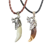 1Pc Fashion Men Necklace Tribal Stark Wolf Fang Tooth Necklace Wolf Head Amulet Pendant Necklace Jewelry