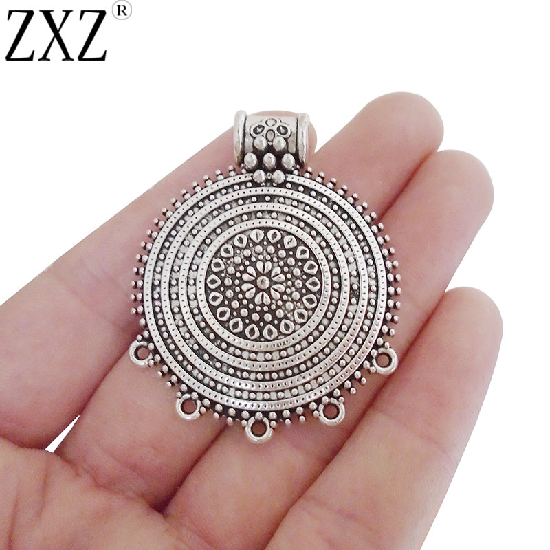 ZXZ 5pcs Tribal Multi Strand Round Charms Pendants Connectors For Necklace Jewelry Making Findings  48x39mm