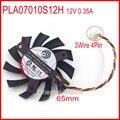 Frete grátis power logic pla07010s12h 12 v 0.35a 65mm 40*40*40mm para msi placa gráfica 4pin 3 fios ventilador de refrigeração