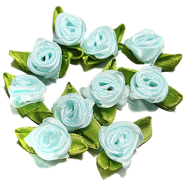 100pcs Small Mini Ribbons Flowers Roses Wedding Ornament Sewing Applique new