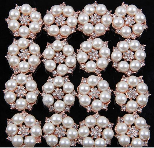 FreeShipping Pearl Jewelry100pcs lot 26MM metal rhinestone pearl cluster button wedding embellishment garment DIY hair accessory