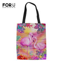 FORUDESIGNS Women Linen Bags Flower Flamingos Prints Pattern Fashion Shopping Bag Girls Handbag Cotton Ladys Cool Canvas Bags