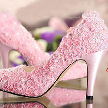 Fashion Designer pink wedding shoes high heel pumps with Rhinestone Bridal Dress Shoes for woman lady dancing prom Pumps