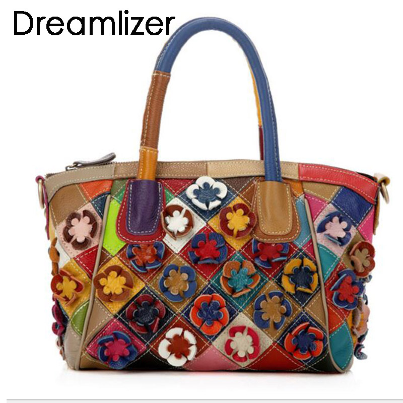 Random Color Flowers Real Genuine Leather Handbags Women High Quality Leather Female Messenger Bag Bolsa Feminina Shoulder Bags kzni real leather tote bag high quality women leather handbags top handle bags purses and handbags bolsa feminina pochette 9057