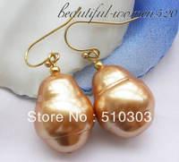 20mm Champagne BAROQUE SEA SHELL PEARL Dangle Earrings