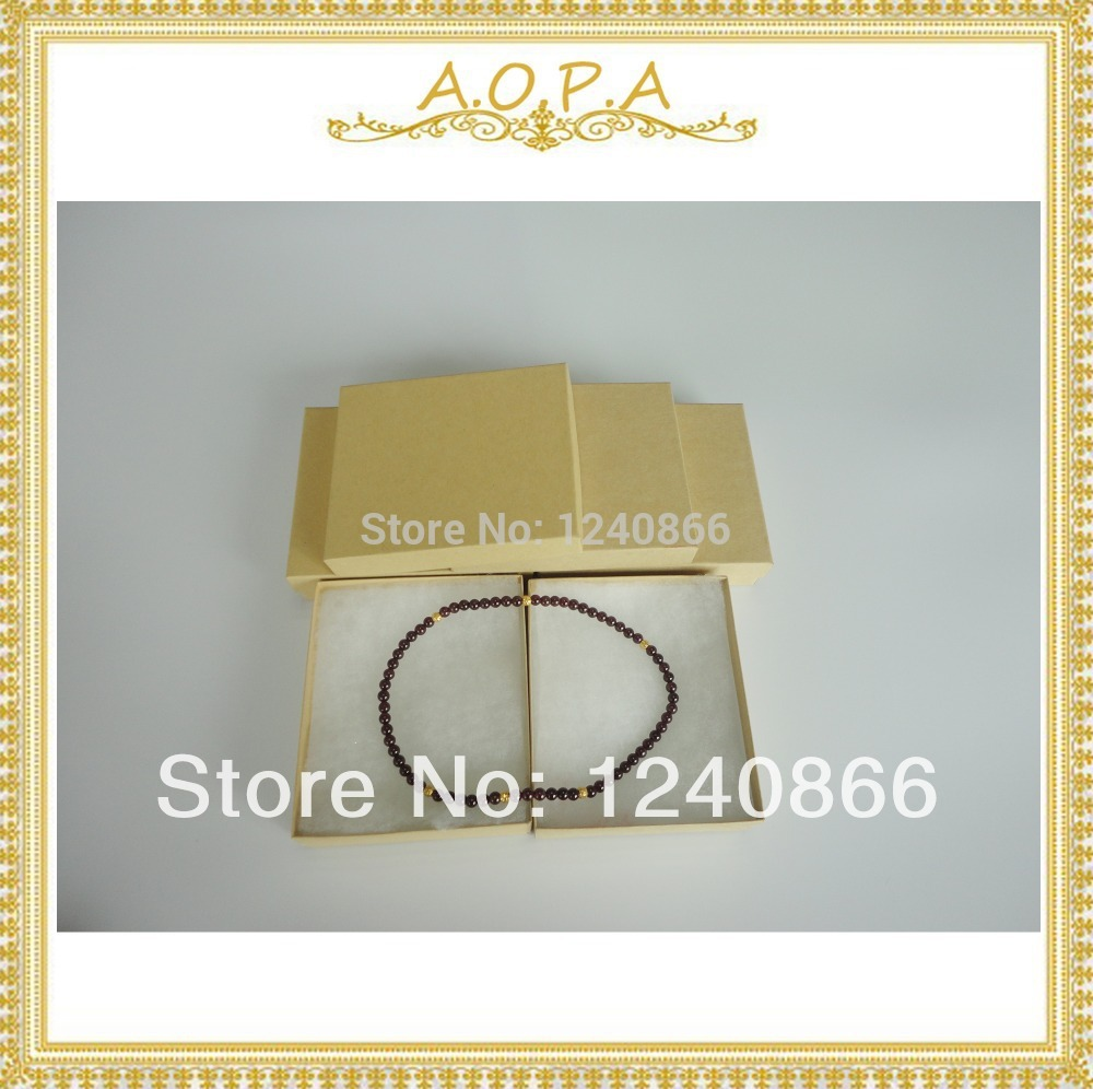 33 High quality 50 pcs kraft paper box cotton filled from China for jewelry packaging