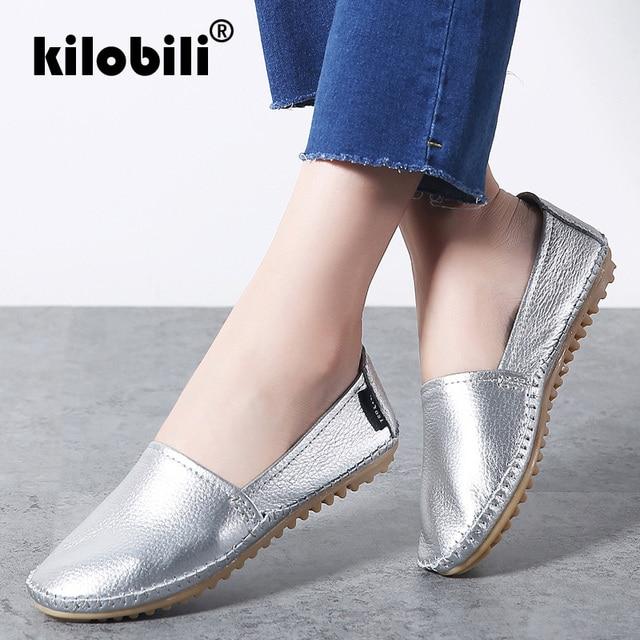 Kilobili נשים בלט דירות נעלי רך עור להחליק על נעלי נשים סירת מוקסין נעלי גבירותיי תפירה כסוף שחור נעלי בד