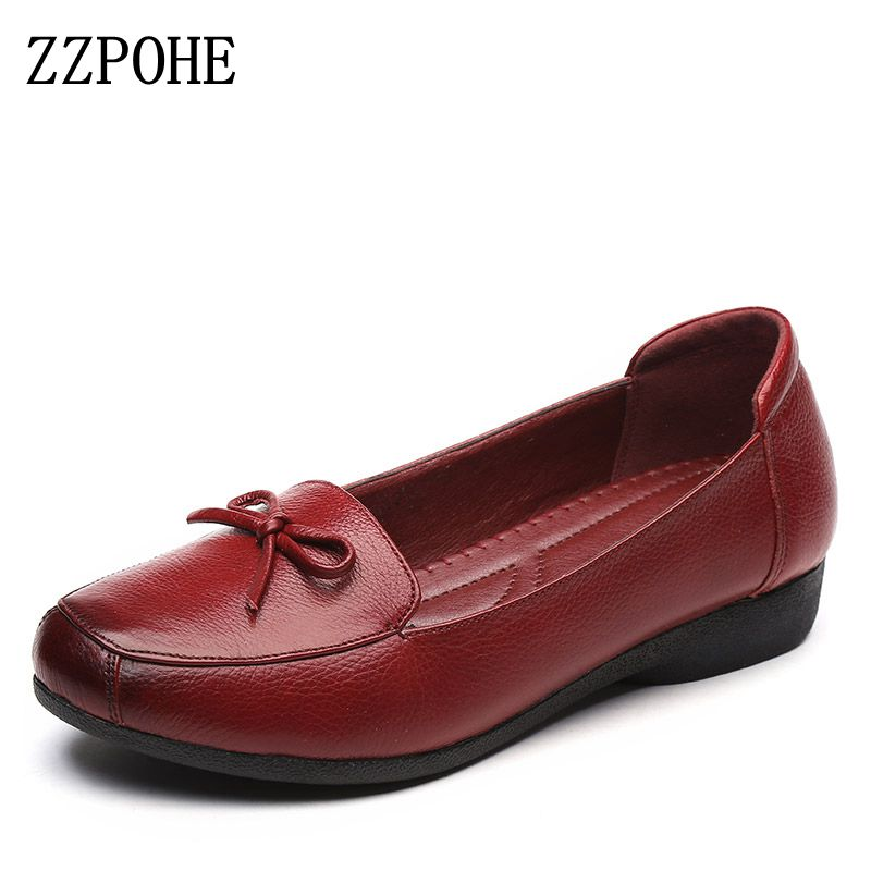 ZZPOHE Women Shoes Spring autumn new Genuine Leather Flat Shoes Woman Fashion soft bottom Single Shoes Women's Casual Work shoes spring and autumn new pattern martin boots flat bottom casual shoes woman s
