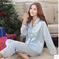 New Pajamas Women Spring Ladies Silk Pyjamas Elegant Luxury Silk Satin Solid Sleepwear Women's lounge Pajama Sets XXL