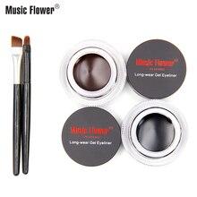 Music Flower Black+Brown 24H Long-wear Gel Eyeliner With Brush Waterproof Cream Women Makeup Long-lasting Smudge-proof