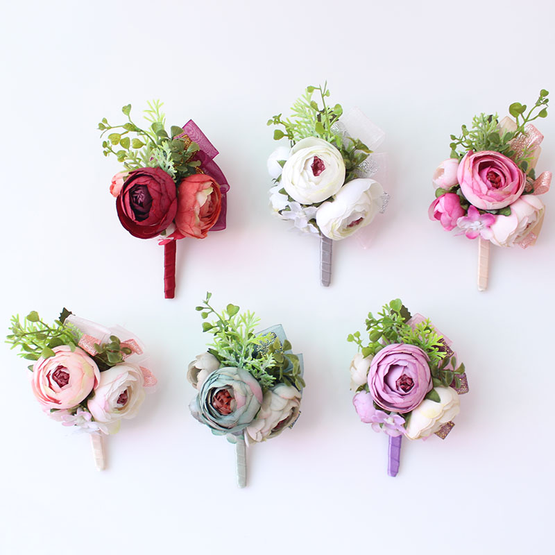 Wedding Corsages and Boutonnieres men groom artificial flowers  (12)