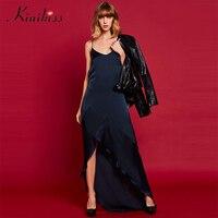 Kinikiss Women Sexy Maxi Dress Backless Spaghetti Strap Criss Cross Party Celebrity Ruffles Dresses Elegant V