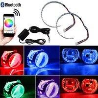 Demon Eyes Headlights Halo Ring Bluetooth Remote RGB LED Retrofit Projector Lens For Car Truck