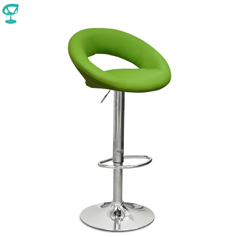 94635 Barneo N-84 Leather Kitchen Breakfast Bar Stool Swivel Bar Chair Light Green Color Free Shipping In Russia