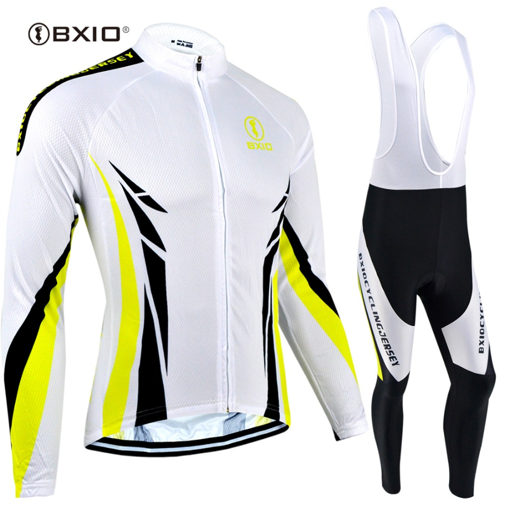 BXIO Ropa De Ciclismo Spring Long Sleeve Cycling Jersey Pro Bike Riding Clothing Sets With 3D Gel Pad Cycling Skinsuit 086