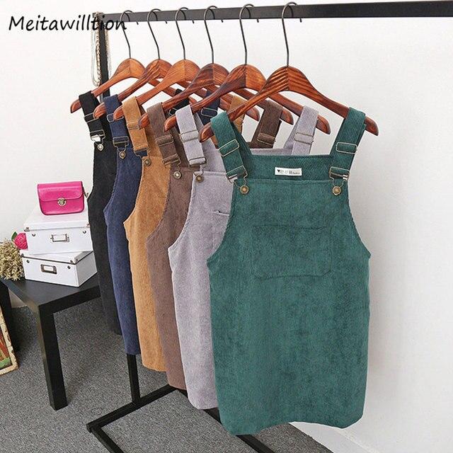 2018 Women Retro Corduroy Dress Autumn Spring Suspender Sundress Sarafan Loose Vest Overall Dress Female Natural Casual Dresses