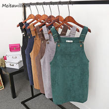 2020 Women Retro Corduroy Dress Autumn Spring Suspender Sundress Sarafan Loose Vest Overall Dress Female Natural Casual Dresses(China)