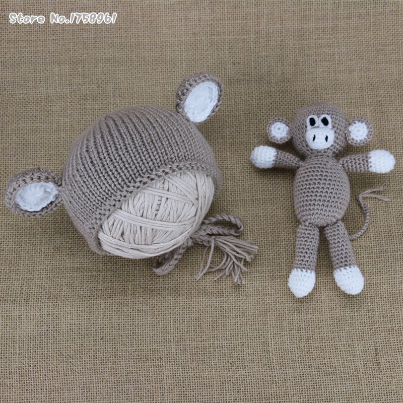 New Baby Monkey Hat Newborn Knit Hat Knit Monkey Hat Baby Boy Photo Prop  Baby Girl Photo Prop Monkey toy-in Hats   Caps from Mother   Kids on  Aliexpress.com ... c1e47ed02c06