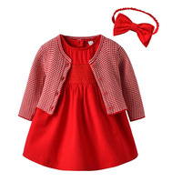 Baby Girls Red Dress & Knitted Coat & Hair Band 3pcs Outfits for Toddler Girls Princess Dress Flower Girls Wedding Dresses