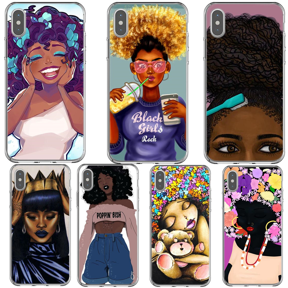 Afro Black Girl Magic Melanin Poppin Phone Case For iPhone X XR XS MAX Hard Phone Cover For iPhone 5 5s SE 6 6s 7 7Plus 8 8 Plus